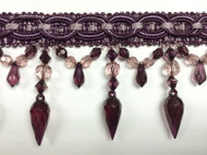 "4"" CRYSTAL BEADED  TASSEL FRINGE-32/29-27        PLUM & PURPLE"