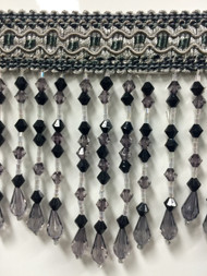 "4.5"" CRYSTAL BEADED TASSEL FRINGE -58/50-37-47       SILVER,DARK GREY, BLACK & TINT OF LILICAC"