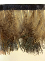 "3"" FEATHER FRINGE-1/I          LIGHT BROWN, CREAM & AQUA BLUE"