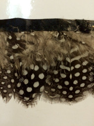 "2.5"" FEATHER FRINGE-1/J        LIGHT BROWN,DARK BROWN & WHITE DOTS"