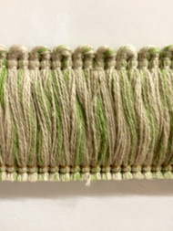 "2"" LINEN BRUSH FRINGE-1-L/6-14   NATURAL & LIGHT GREEN"