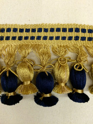 "4"" TASSEL FRINGE-4/46-12             NAVY BLUE & ANTIQUE GOLD"