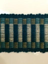 "1.5"" COTTON GIMP HEADER BRAID-5/2-46-44          CREAM,NAVY BLUE & TURQUOISE BLUE"