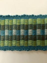 "1.5"" COTTON GIMP HEADER BRAID-5/44-13-2         TURQUOISE BLUE,MINT GREEN & CREAM"