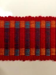 "1.5"" COTTON GIMP HEADER BRAID-5/44-30-49        TURQUOISE BLUE,RED & AMBER"