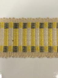 "1.5"" COTTON GIMP HEADER BRAID-5/2-10-37         CREAM,YELLOW & GREY"