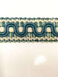 7/8 COTTON GIMP HEADER-59/44-13-2       TURQUOISE BLUE,MINT GREEN & CREAM