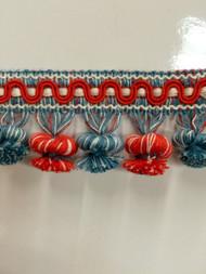 "2"" COTTON TASSEL FRINGE-19/1-30-44      WHITE,RED TURQUOISE  BLUE"