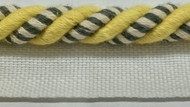"3/8"" COTTON ROUND CORD EDGE CE-3/2-10-37        CREAM,YELLOW & DARK GREY"