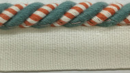 "3/8"" COTTON ROUND CORD EDGE CE-3/1-30-44         WHITE,RED & TURQUOISE BLUE"