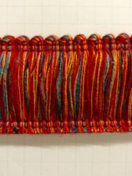 """2"""" COTTON BRUSH FRINGE-2/44-30-49              TURQUOISE BLUE,RED & AMBER"""