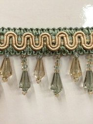 "1.5"" CRYSTAL BEADED TASSEL FRINGE-57/39-3            AQUA BLUE & BEIGE"
