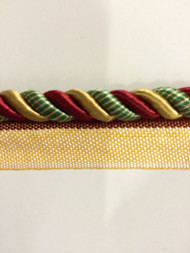 "5/16"" ROUND CORD EDGE WITH LIP-CE-M/1042-1           BURGUNDY,GOLD & LT GREEN"