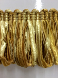 """1 7/8"""" LOOP RIBBON FRINGE-1/12        ANTIQUE GOLD"""