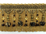 "6"" BULLION TASSEL FRINGE-45/47-12    BLACK & ANTIQUE GOLD"