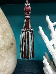 "6.5"" Imperial Key Tassel       KT-20/33-39     Burgundy & Aqua"