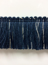 "1.75"" Brush Fringe Trim Extra  BRF-3/46-4   (Navy & Creamy White))"