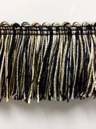 "1.75"" Brush Fringe Trim Extra  BRF-3/47-4  (Black & Taupe)"