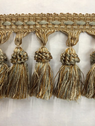 "3.5"" TASSEL FRINGE -7/40-3-12                 SILVER BLUE,BEIGE & ANTIQUE GOLD"