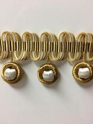 """2.18"""" French Tassel Fringe Trim TF-67/11-12-2 (Gold & Creamy White)"""
