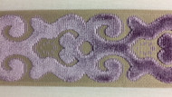 "3.5"" Trim Tape With Velvet Embroidery H-1106/6  (Beige & Lilac)"