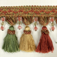 "4"" TASSEL FRINGE -8/22-12-13      JSALMON,ANTIQUE GOLD & MINT GREEN"