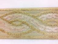 """3.5"""" Woven Trim Tape with Velvet Emroidery H-1113/1 (Natural & Beige)"""
