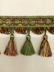 "4"" TASSEL FRINGE-9/17-32-11        LODEN GREEN,RED & GOLD"