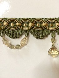"3"" TASSEL FRINGE -28/17-12    LODEN GREEN & ANTIQUE GOLD"