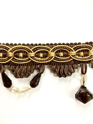 "3"" TASSEL FRINGE -28/8-12     BROWN & ANTIQUE GOLD"