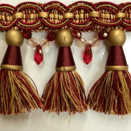 "4"" TASSEL FRINGE -34/12-33     ANTIQUE GOLD & BURGUNDY"