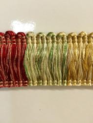 "2"" BRUSH FRINGE-1/2-31-15   CREAM,DARK RED & GREEN"