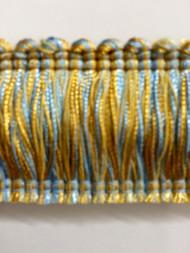 """2"""" BRUSH FRINGE-1/38-11  LIGHT BLUE & GOLD"""