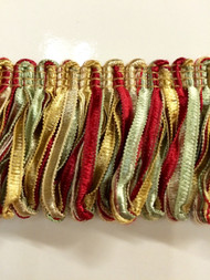 "2"" LOOP RIBBON FRINGE-1/2-31-15         CREAM,DARK RED & GREEN"