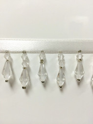 "1.5"" CRYSTAL BEADED FRINGE-3/1   WHITE LACE/CLEAR BEADS"