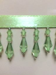 "1.5"" CRYSTAL BEADED FRINGE-3/13     MINT GREEN"