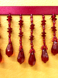 "3"" CRYSTAL BEADED FRINGE-19/32         CRANBERRY"