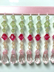 "3"" CRYSTAL BEADED FRINGE-24/13-20-18    MINT,FUCHSIA & PINK"