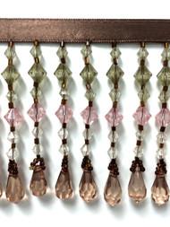"3"" CRYSTAL BEADED FRINGE-24/8-17-20  BROWN,LODEN GREEN & FUCHSIA"