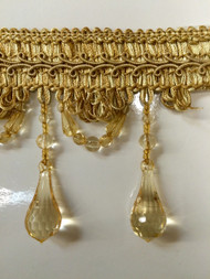 "4"" BEADED TASSEL FRINGE -46/12    ANTIQUE GOLD"