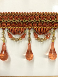 "4"" BEADED TASSEL FRINGE -46/35-12-17     RUST,ANTIQUE GOLD & LODEN GREEN"