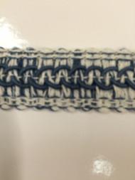 "7/8"" LINEN GIMP HEADER-59-L/2-55                  WHITE & INDIGO BLUE"
