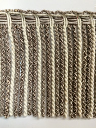 "6"" LINEN BULLION FRINGE-6-L/2-8        WHITE & BROWN"
