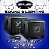 "Yorkville PS15S Parasource 2 Pack 15"" Powered Subwoofer 2 Pack With cables"