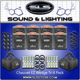 Chauvet DJ EZ Wedge Tri Battery Operated 8 Pack + Extras!