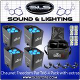 Chauvet DJ Freedom Par Tri 6 4 Pack + Extras!