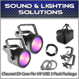 (2) Chauvet COREpar UV USB Blacklight Ultravoilet LED Package