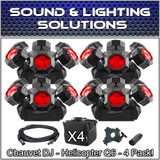 (4) Chauvet DJ Helicopter Q6 DMX Rotating Dance Floor FX Lights Package