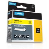 "Label RhinoPRO 1"" Yellow Flexible Nylon Black Print"