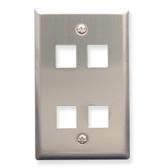 Face Plate 4 Port Stainless Steel for flush mounting jacks
